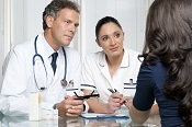 Medical discussion at hospital with patient