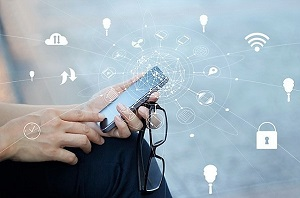 Man using mobile payments for online shopping and icon customer network connection on screen, m-banking and omni channel